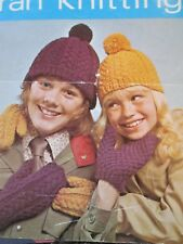 knitting pattern Childrens Hats & Mittens ARAN Yarn Ages 2/13 Years