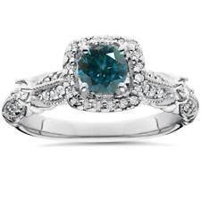 1 1/2ct Treated Blue Diamond Cushion Halo Vintage Engagement Ring 14K White Gold