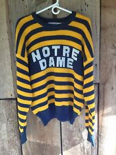 RARE Vtg Striped 80s NOTRE DAME Navy Blue Yellow 1984 Sweater Adult L Wool Blend