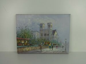 """Original Gouache Painting Signed Burnett French Street Scene Vintage 16x12"""" Size"""