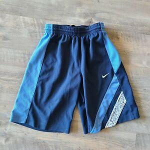 Nike Blue Boys Basketball Athletic Contrast Stripe Elastic Waist Shorts Size 8