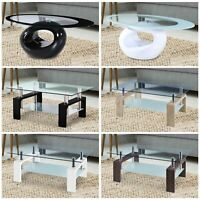 Modern Cocktail Coffee Table Glass & Wood Living Room Furniture w/ Lower Shelf