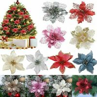6/12Pcs Glitter Christmas Flower Tree Hanging Ornaments Festival Xmas Decor Prop