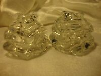 Gorham Fine Crystal Pair Salt & Pepper Shakers Rose Design Elegant Tableware 393