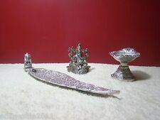 White Metal Puja Pooja Set 3 Incense Stand Ganesha Idol Swastik Lamp Free Ship