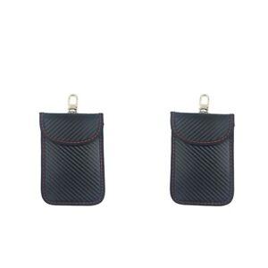 2pcs Black PU Leather Car Key Faraday Bag Signal Block Case for Key Fob Security