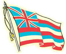 Hawaii State Flag  Vintage 1950's Style Travel Decal Sticker label Honolulu