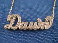 Personalized 14K Gold ANY  NAME Necklace w. DIAMONDS