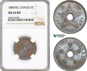 AF716, Belgian Congo, Leopold II, 2 Centimes 1888, NGC MS63RB