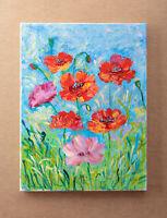 Poppy Wild Flowers Art Acrylic Original Painting Art Wild Poppies on Canvas
