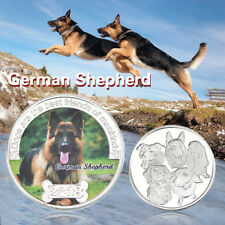 WR German Shepherd Silver Coin Cute Dog Souvenir Animal Medal Gifts 4 Kids