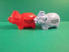 Red & Blue Plastic Piggy Coin Banks Adv. Nebrska Depatment Of Banking & Finance