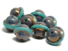 Czech Glass Beads 10x12mm Bronze Purple Washed Turquoise Saturn Beads (8) #5230