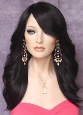 Human Hair Blend Wig w. Bangs Off Black Side Waves yna 1B