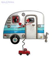 Quirky Silver HAPPY CAMPER Retro Caravan Designer Wall Clock by Allen Designs