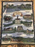 """Woven Tapestry Afghan Fringe Throw Blanket Country Scene Horse Barn  48""""x 64"""""""