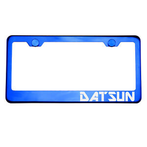 Blue Chrome License Plate Frame DATSUN Laser Etched Metal Screw Cap