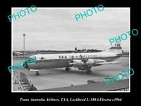 OLD HISTORIC AVIATION PHOTO TAA TRANS AUSTRALIA AIRLINES LOCKHEED ELECTRA 1966