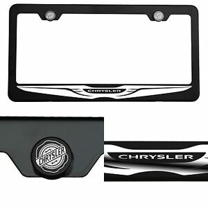 Laser Engraved Chrysler Logo Mirror Matte Black License Frame Stainless Steel