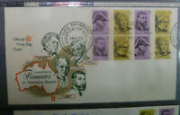 1973 PIONEERS IN AUST HISTORY WESLEY FIRST DAY COVER BLOCK OF 8 STAMPS