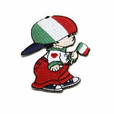 ITALY LITTLE BOY COUNTRY FLAG IRON-ON PATCH CREST BADGE SIZE: 3 X 2 INCH .. NEW
