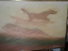 Vintage nude oil painting with running horse and shadow unusual