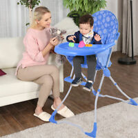 Portable Blue Baby Infant Toddler High Chair Feeding Booster Seat Table Tray New