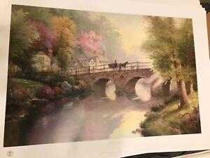 "New Thomas Kinkade lithograph Hometown Bridge 18"" x 27"""