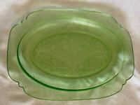Madrid Pattern Green Depression Federal Glass Platter 8 X 11.5 In EUC