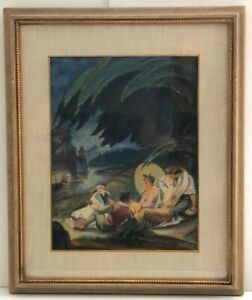 FRANZ PAUL GLASS Watercolor Women Men Barhing Scene c 1945 Signed Listed Framed