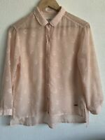 Abercrombie & Fitch Pastel Pink Embroidered Sheer Shirt Buttons Blouse Size M