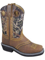 Smoky Children's Kid's Brown Oil Distress and Camo Square Toe Western Cowboy Boo