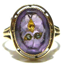 14K YELLOW GOLD ROSE CUT DIAMOND & AMETHYST VICTORIAN ROSE DE SHARON RING BAND