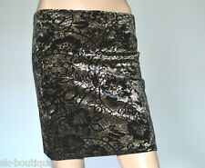 NEW JANE NORMAN BLACK SHINY GOLD FLORAL SKIRT 10