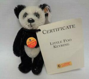 "Steiff Little Foo Keyring Panda Bear Miniature 4"" Jointed With Tags"