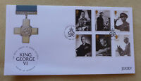 2017 JERSEY QUEEN VIC LEGACY KING GEORGE VI SET OF 6 STAMPS FDC FIRST DAY COVER