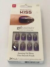 KISS GEL FANTASY PURPLE NAILS + SILVER CONFETTI & GLITTER TIP KGN04 CHARMED LIFE