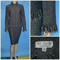 ST JOHN COLLECTION TWEED Knits BLACK Cream JACKET L 10 12 Blazer FRINGES