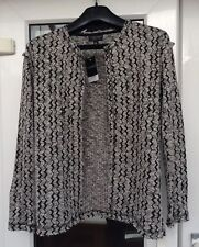 BNWT Topshop Black & White Zig Zag Edge to Edge Cardigan Jacket Size 6