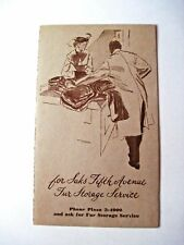 "1952 ""Saks Fifth Avenue"" Fur Storage Service Card w/ Rates & Order Postcard   *"