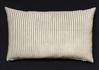 "IKEA Luktnypon Pillow Cushion Covers - 2 NEW 16"" x 26"" Striped Beige Gold & Gray"