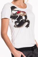 Liu Jo - Gecko T-Shirt Damen weiß Rundhals Designer Oberteil