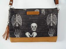 Anatomical Skeleton Black Handbag - Bag Ribs Skull Medical Doctor Nurse Brown