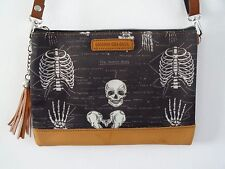 Anatomical Skeleton Black Handbag - Bag Ribs Skull Medical Doctor Nurse Brown