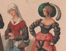 1850 lithographie cuisinière prostituée suisse paysanne Aix la Chapelle costume