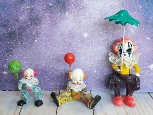 3 Vintage Hand Painted Paper Mache Clown Figure Lot Balloon Creepy It