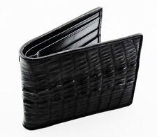 New Genuine Crocodile Leather Tail Skin Men's Black Bi-fold Slim Wallet.