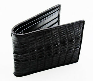 New Genuine Crocodile Leather Tail Skin Men's Black Bi-fold Slim Wallet.
