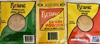 Jamaican Spices, Betapac Curry Powder+ Chicken Spice+ Jerk Spice (3x110g)