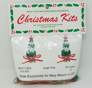 Jingle Tree Christmas Ornament Beading Craft Kit Mary Maxim Merri Mac Vintage
